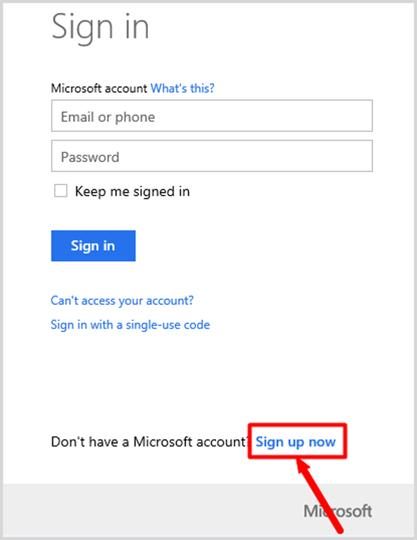 click sign up now for a new microsoft account