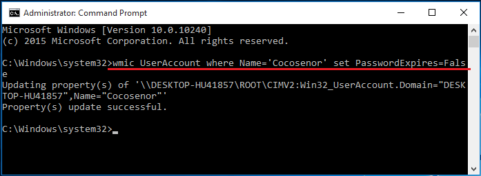 disable windows 10 password expiration with command