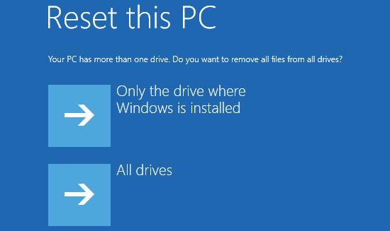 master reset windows 8