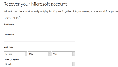 enter info to recover microsoft account