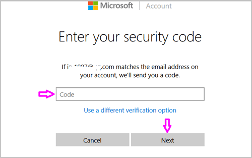 enter your security cod