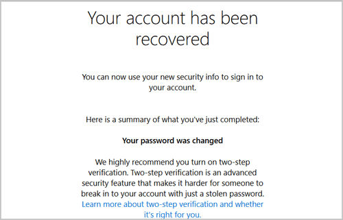 your account has been recovered