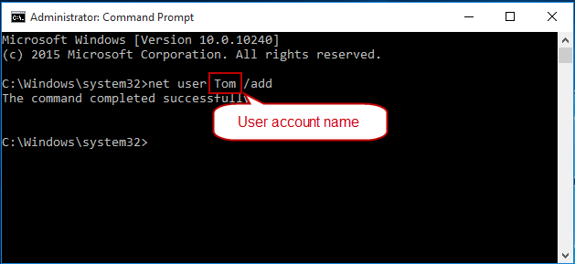 add account with command