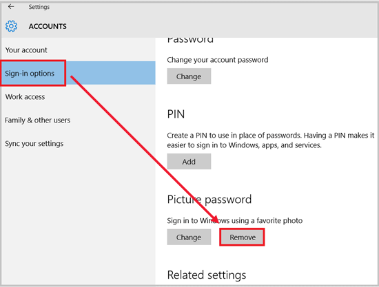 remove picture password from windows 10