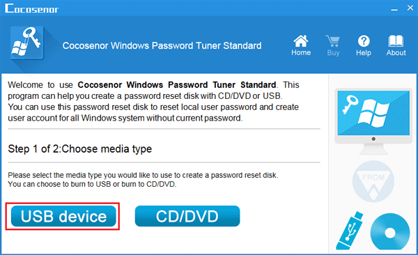 choose media to create password recovery disk