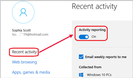 turn on activity reporting
