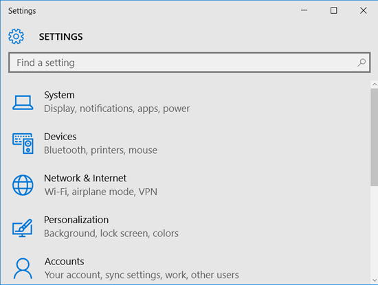 open windows 10 settings