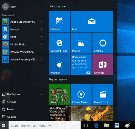 win key brings out start menu