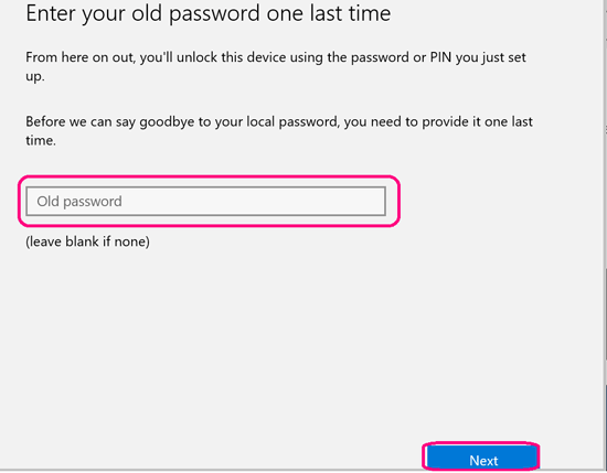 enter your old password