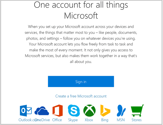 one account for all things microsoft