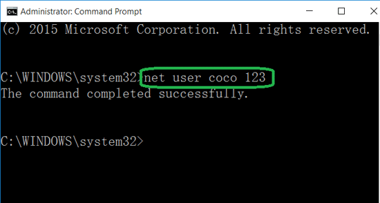 reset local account password with command