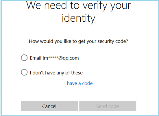 select the way to get verify code