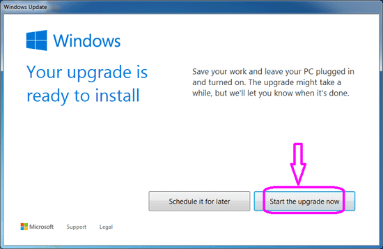 start the windows 10 upgrade now