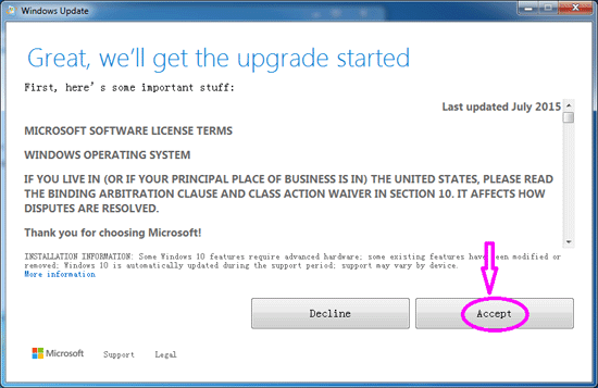 will get the windows 10 upgrade start