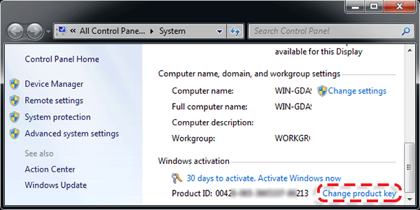 activate Windows 7 using product key