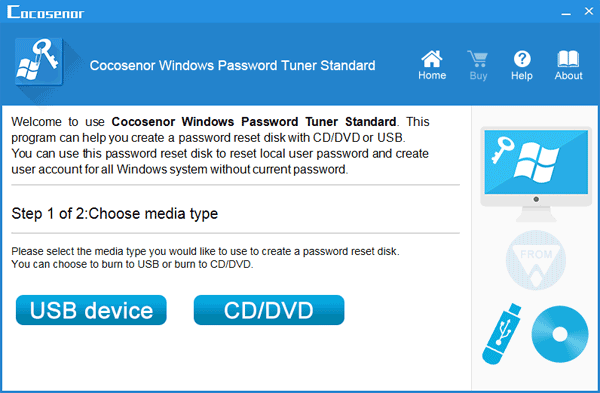 choose media to create a password reset disk