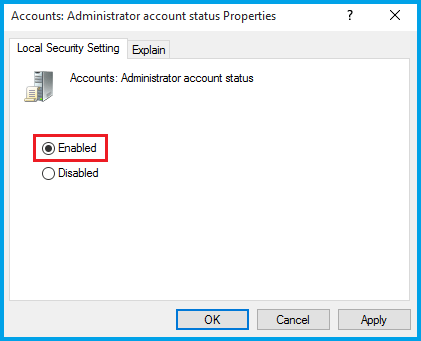 accounts administrator account status disabled not working