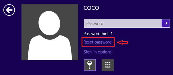 select reset password