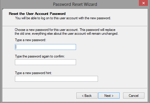 type the new password