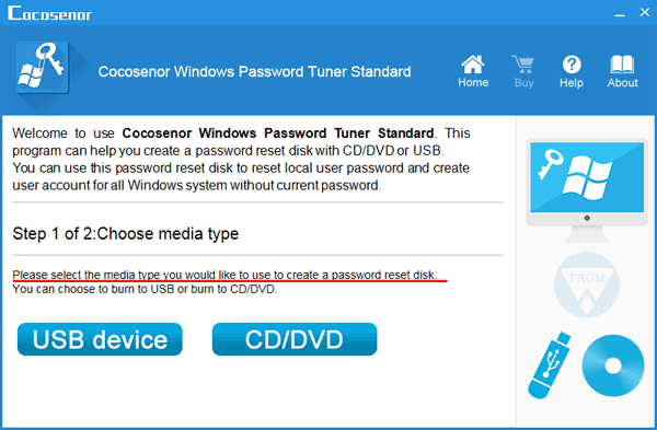 choose a media type to create a password reset disk