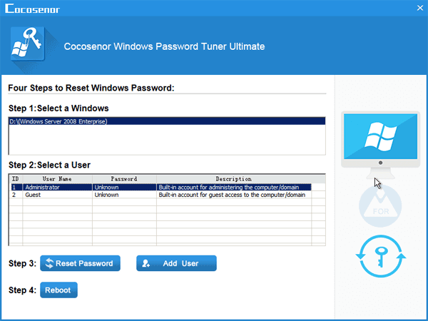 windows server 2008 r2 password reset iso