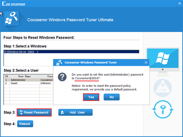 how to access windows server 2003 without password