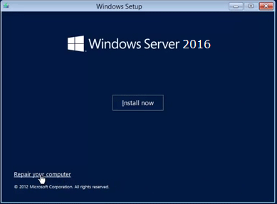Reset Windows Server 2016 forgotten password