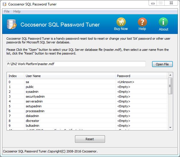 Cocosenor SQL Password Tuner full screenshot