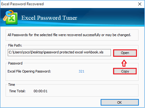 excel file password is recovered