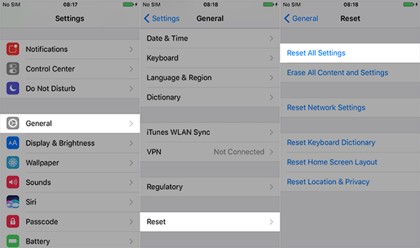 reset all the setting on your iPhone