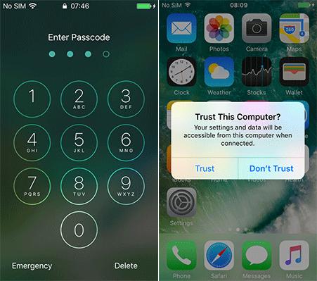 keep iphone unlocked and trust