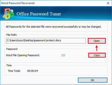 office document password is recovered
