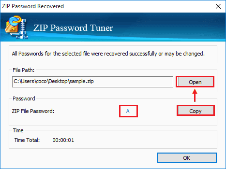 zip file password is recovered